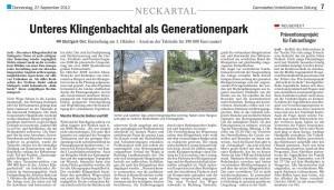 Zeitungsartikel - Unteres Klingenbachtal