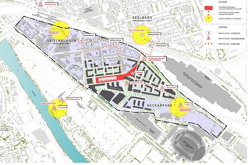 Landschaftsarchitektur Kunder 3 - Übersichtsplan über das Gelände Neckarpark Stuttgart