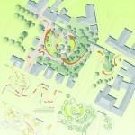 Skizze - Vogelperspektive auf den Spielplatz am Schulberg